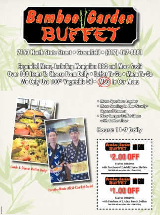 ads for bamboo garden buffet in greenfield in - Bamboo Garden Menu