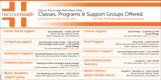 Classes, Programs And Support Groups Offered