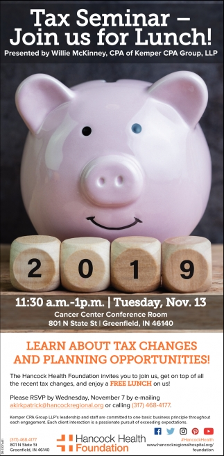 Tax Seminar - Join Us For Lunch!