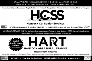 We Advocate For And Address The Life Challenges Of Our Hancock County Seniors And Those With Disabilities