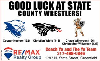 Good Luck At State County Wrestlers!
