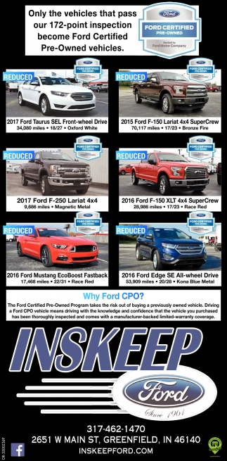 Ford Certified Pre Owned >> Ford Certified Pre Owned Inskeep Ford Greenfield In