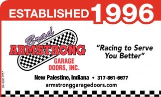 Established 1996 brad armstrong garage doors inc for Garage door repair noblesville