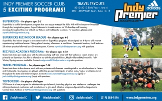 Indy Premier Soccer Blub 5 Exciting Programs!