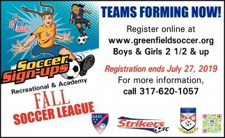 Teams Forming Now!
