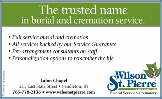 The Trusted Name In Burial And Cremation Service.
