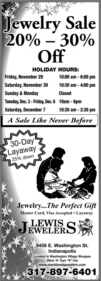Jewelry Sale 20% - 30% Off