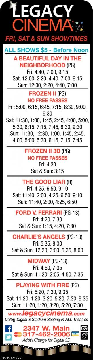 Fri, Sat & Sun Showtimes