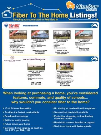 Fiber To The Home Listings!