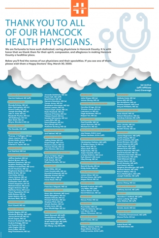 Thank You To All Of Our Hancock Health Physicians