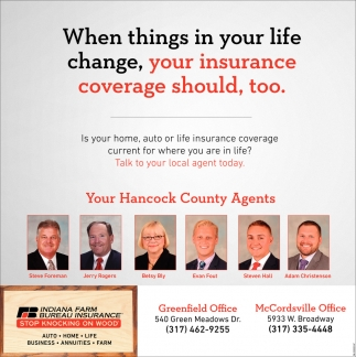 Whe Things In Your Life Change, Your Insurance Coverage Should, Too.