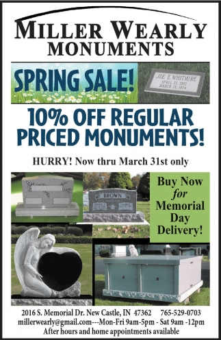 10% Off Regular Priced Monuments!