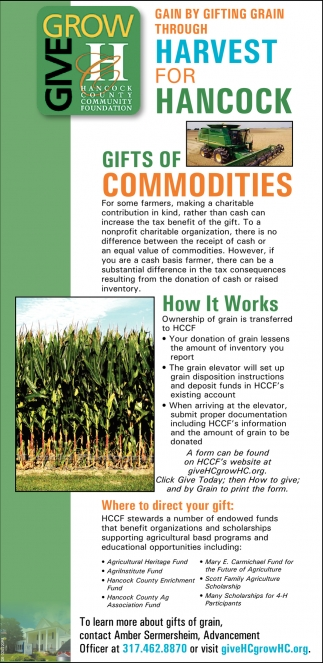 Gain By Gifting Grain Through Harvest For Hancock Gifts Of Commodities