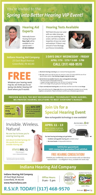 You're Invited To The Spring Into Better Hearing VIP Event!