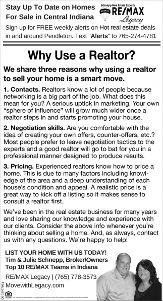Why Use A Realtor?, Re/Max Legacy, Pendleton, IN