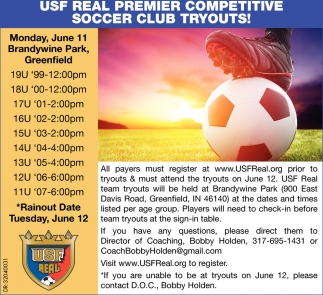 USF Real Premier Competitive Soccer Club Tryouts!