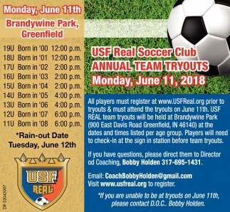 USF Real Soccer Club Annual Team Tryouts